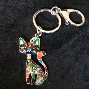Colorful kitty cat key chain
